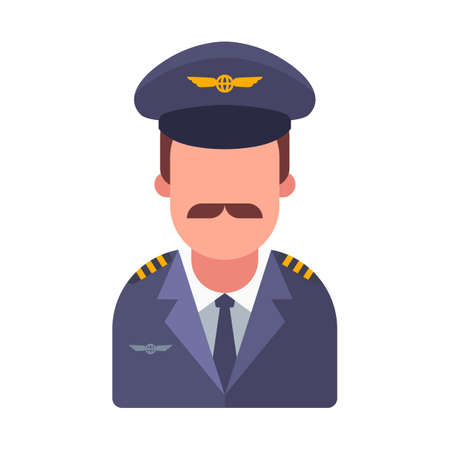 mustachioed pilot of a passenger plane. flat vector character illustration.