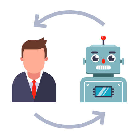 replacement of live employees with robots. flat vector illustration isolated on white background.