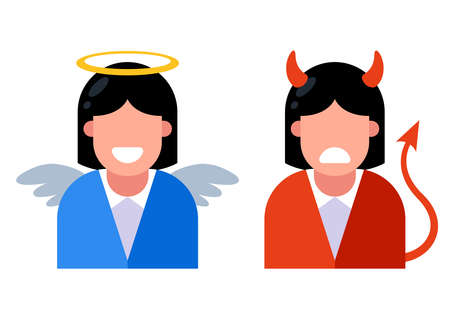 icon girl angel and girl demon. moral choice between good and bad. flat vector illustration.