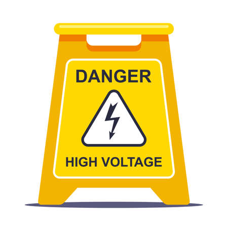 the yellow label limits the area due to high voltage. flat vector illustration isolated on white background. Ilustrace