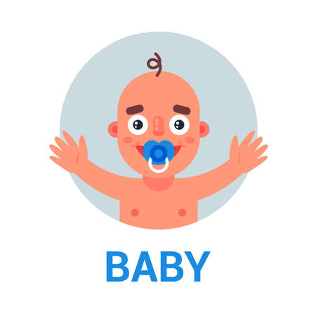 newborn baby with pacifier wants to hug. flat vector illustration. Ilustrace