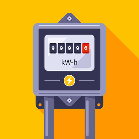 an electric meter with a dial hangs on the wall. flat vector illustration.