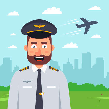 pilot on the background of a plane taking off. flat vector character illustration.