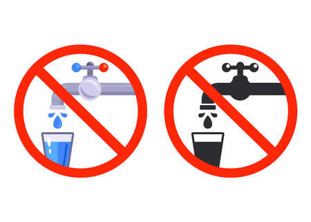no drinking water sign. tap with a glass. flat vector illustration.