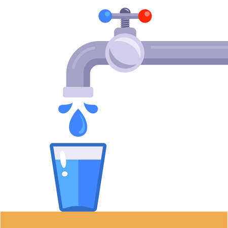 pour into a glass of clean drinking water from the tap. flat vector illustration isolated on white background. Ilustrace