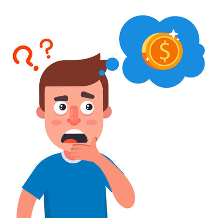 the man is thinking where to get the money. financial difficulties in a person. flat vector character illustration.