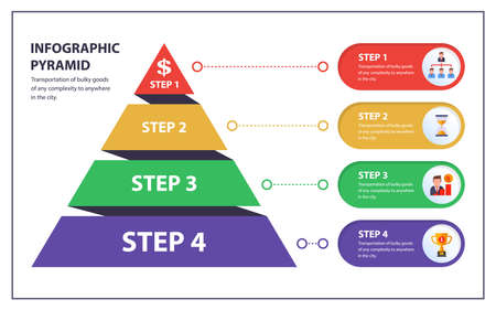 infographics pyramid with 4 steps. information icons. flat vector illustration.