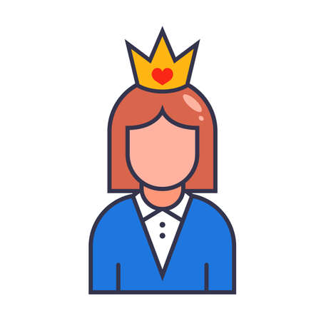 icon girl in a gold crown. beauty contest winner. flat vector character illustration isolated on white background.