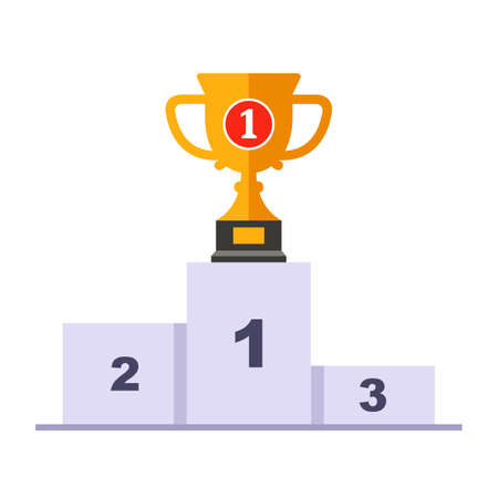 a pedestal with a gold cup in the first place. flat vector illustration.