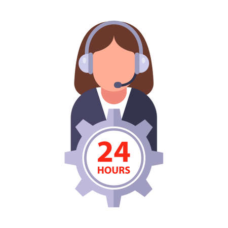 help 24 hours. girl operator for communicating with clients. flat vector illustration