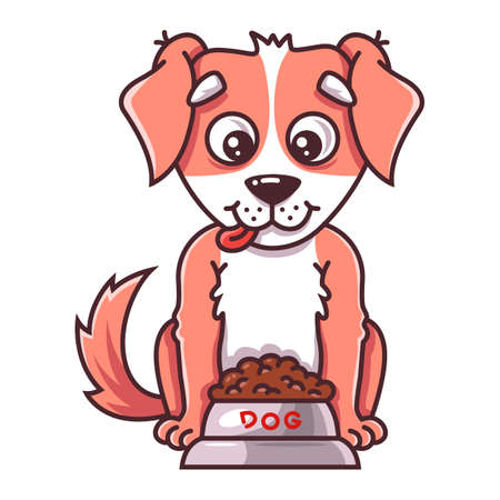 the dog sits next to a bowl of food. flat vector illustration of pet.