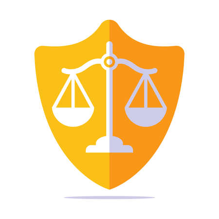 golden shield of justice with scales inside. flat vector illustration