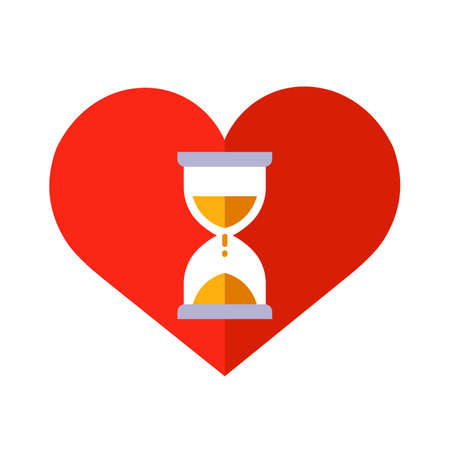 icon of red heart and hourglass inside. time for love is running out. flat vector illustration isolated on white background.