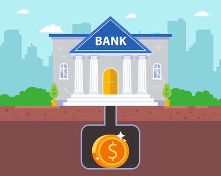 vault for money underground. safe bunker under the bank. flat vector illustration.