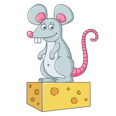a large gray mouse stands on a piece of cheese. a well-fed rat. flat vector character illustration.