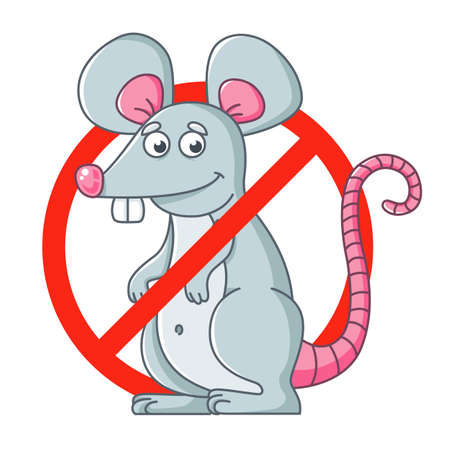 round sign of getting rid of rodents. destroy mice. flat vector character illustration. Ilustrace