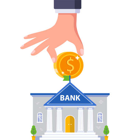 put money into your bank account. flat vector illustration.