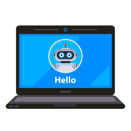 virtual robot assistant on a laptop monitor. flat vector illustration.