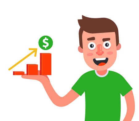 the man has a graph of income growth on the palm of his hand. flat vector character illustration.