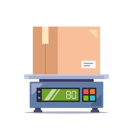 weigh the parcel in a cardboard box on an electronic scale. flat vector illustration isolated on white background