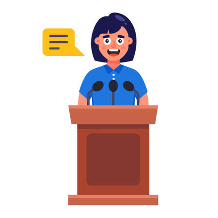 the girl speaks behind the podium. performance of a woman in front of an audience. flat vector character illustration. Ilustrace