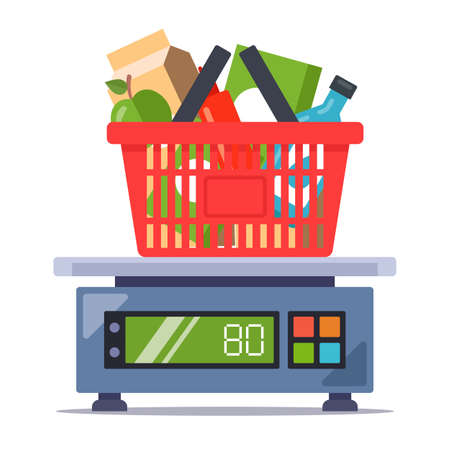 weigh products from the store on the scales. food set. flat vector illustration isolated on white background. Ilustrace
