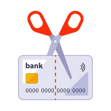 cut an old bank card with scissors. flat vector illustration isolated on white background.
