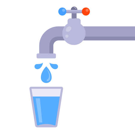 glass of water from the tap on a white background. flat vector illustration.