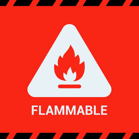 the red sticker is flammable. fire in a triangle. warning about the danger at the facility. flat vector illustration. Ilustrace