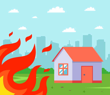 the fire gets close to the private house. fire near the building. flat vector illustration. Ilustrace