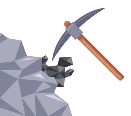 coal mining in the mine. the pickaxe hits the stone. flat vector illustration.
