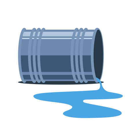 the iron barrel fell. spill water on the ground. flat vector illustration.