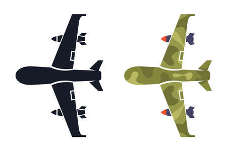 military drone on a white background. icon and color illustration. flat vector
