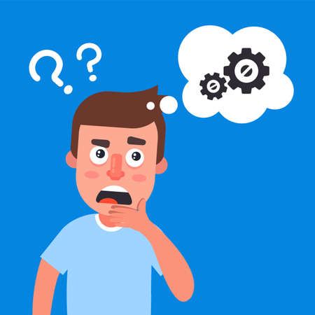 young guy ponders the problem. gears in a bubble. flat vector character illustration.