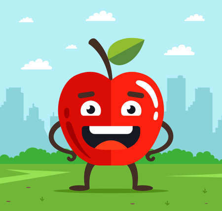 character apple with face. the fruit fell from the tree onto the grass. city landscape on the background. flat vector illustration. Ilustrace
