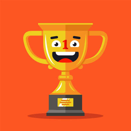 gold cup winner with joyful facial expression. flat vector character illustration.