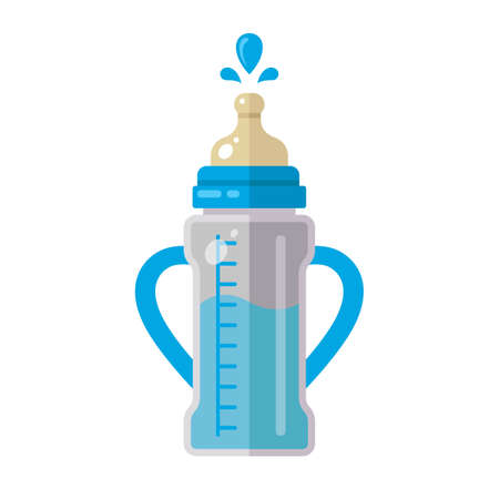 baby bottle with milk with handles on the sides. flat vector illustration isolated on white background.