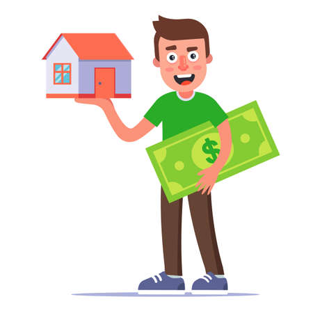 man buys a house. country house on the palm. Rental Property. flat vector illustration.