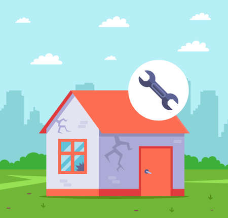 renovate an old house for resale. flat vector illustration.