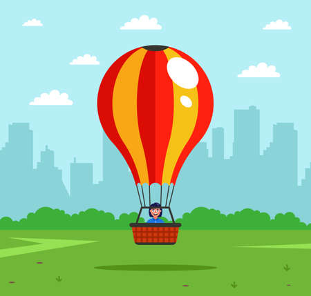 the attraction will rise into the air in a hot air balloon. a joyful aeronaut rises into the sky. flat vector illustration.