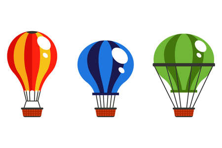 collection of multicolored hot air balloon in the sky on a white background. flat vector illustration. Ilustrace