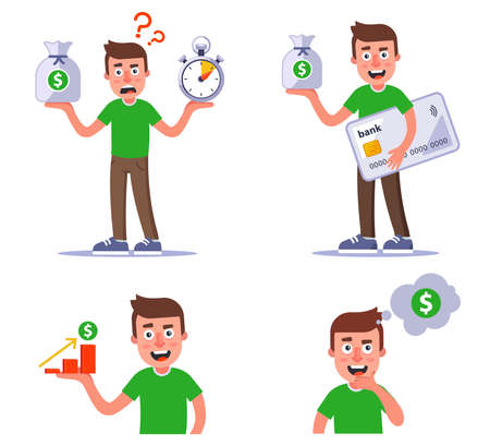 collection of one character with money. set is a good investment of money. flat vector illustration isolated on white background.
