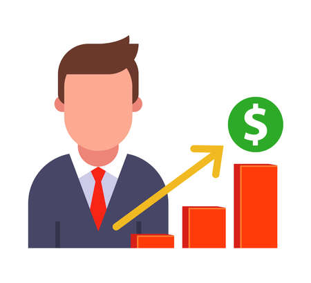 icon man makes a report on sales growth. flat vector character illustration. Ilustrace