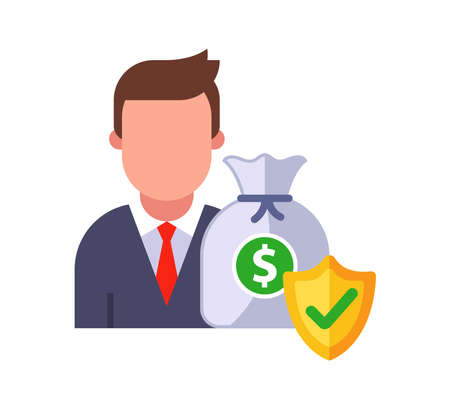 the client money is well protected by the bank. flat vector character illustration.