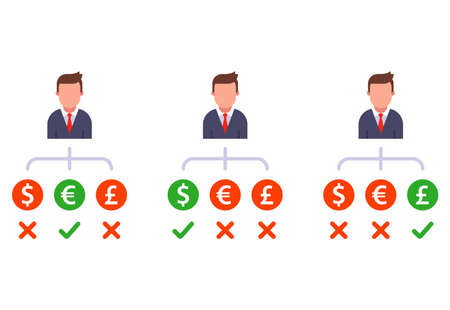 set a choice of different currencies to buy. flat vector character illustration. Ilustrace