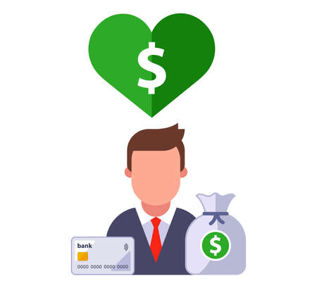 character icon with heart and dollar sign inside. love of money. flat vector illustration. Ilustrace