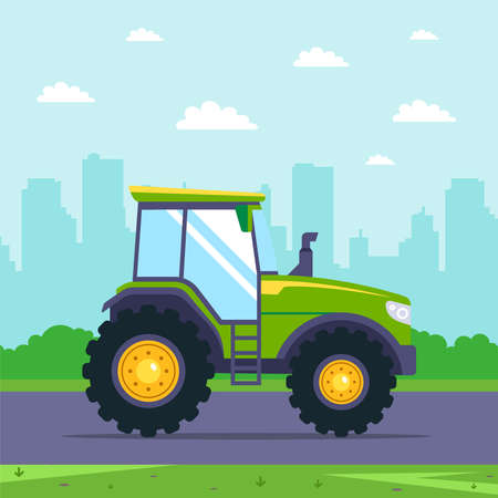 green tractor rides on the highway against the background of the city. flat vector car illustration. Ilustrace