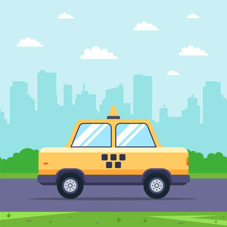 yellow taxi rides on the road against the background of the cityscape. flat vector illustration.