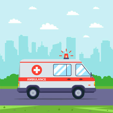 an ambulance rides on a call against the backdrop of a cityscape. flat vector illustration.