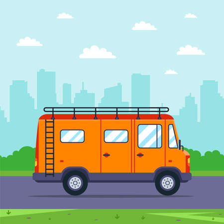 orange van goes to nature from the city. flat vector illustration.